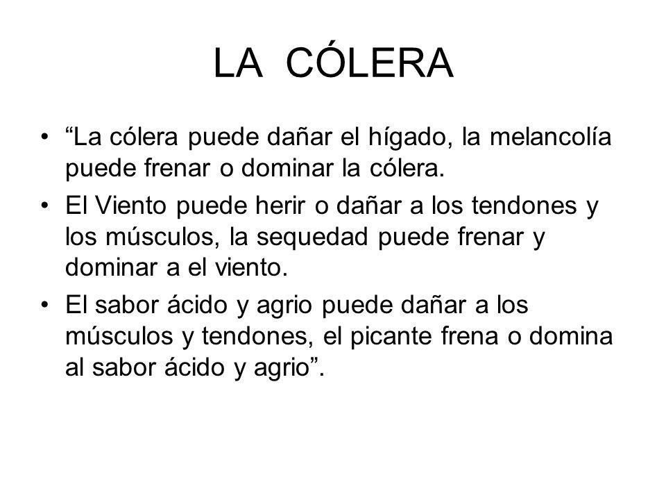LA CÓLERA La cólera puede dañar el hígado, la melancolía puede frenar o dominar la cólera.