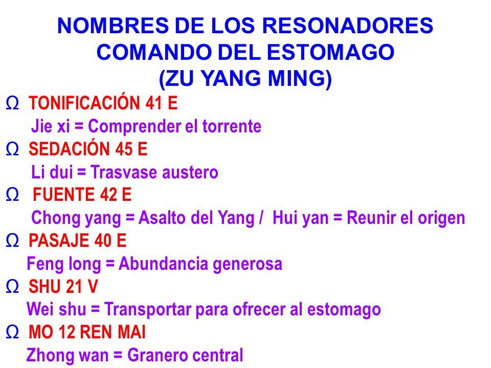 NOMBRES DE LOS RESONADORES COMANDO DEL ESTOMAGO