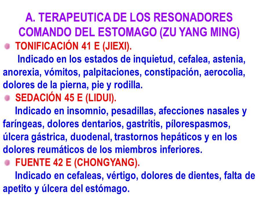 A. TERAPEUTICA DE LOS RESONADORES COMANDO DEL ESTOMAGO (ZU YANG MING)
