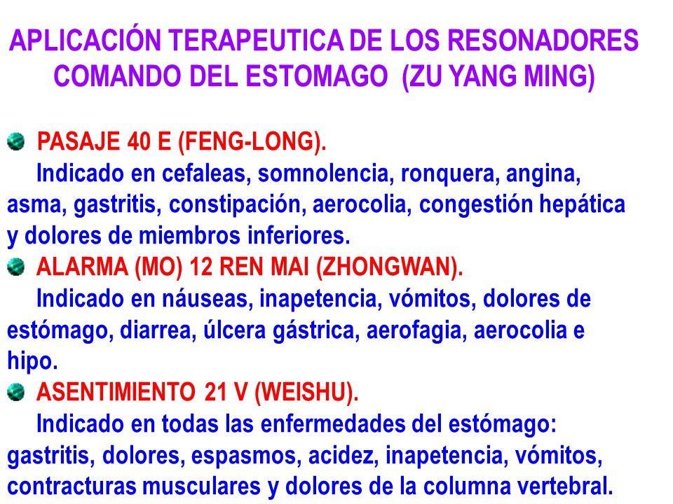 APLICACIÓN TERAPEUTICA DE LOS RESONADORES COMANDO DEL ESTOMAGO (ZU YANG MING)