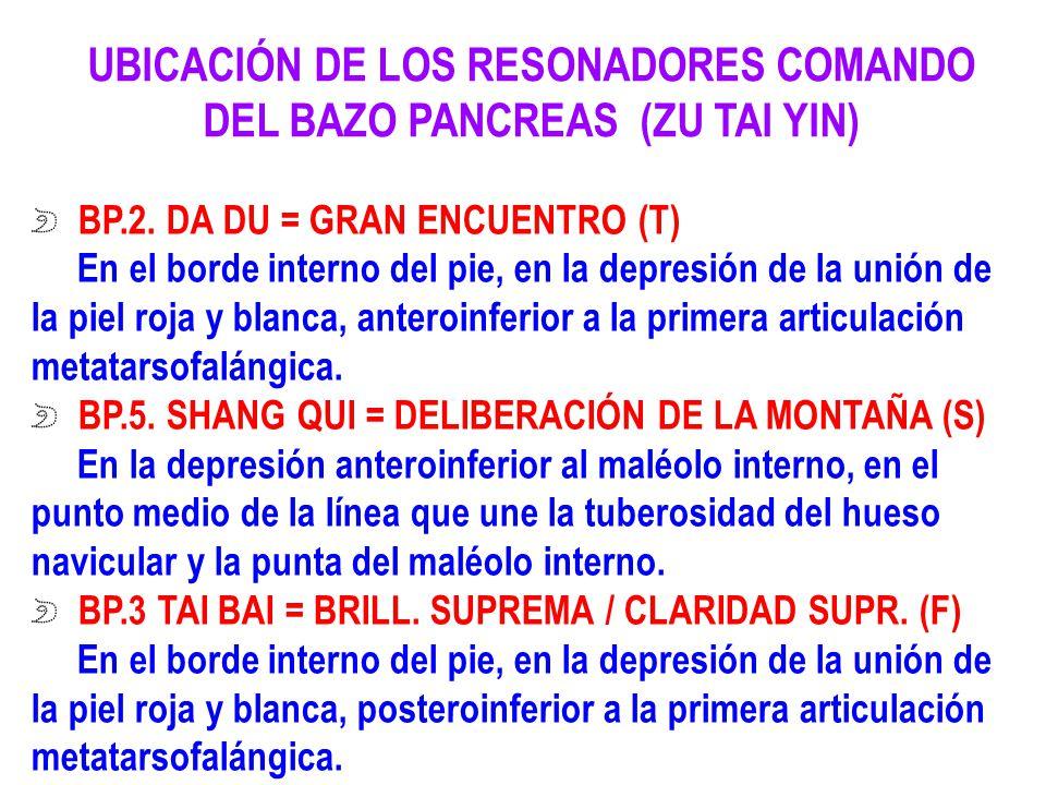 UBICACIÓN DE LOS RESONADORES COMANDO DEL BAZO PANCREAS (ZU TAI YIN)