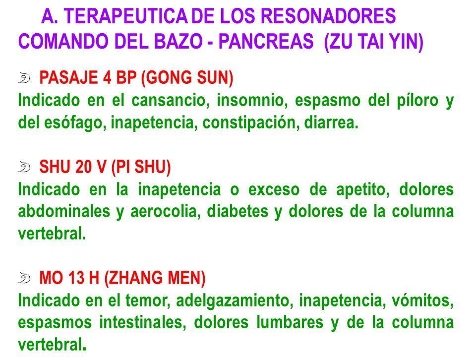A. TERAPEUTICA DE LOS RESONADORES COMANDO DEL BAZO - PANCREAS (ZU TAI YIN)