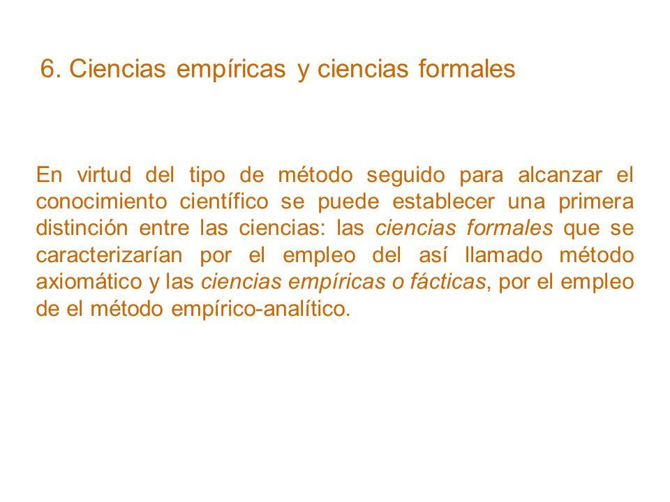 6. Ciencias empíricas y ciencias formales