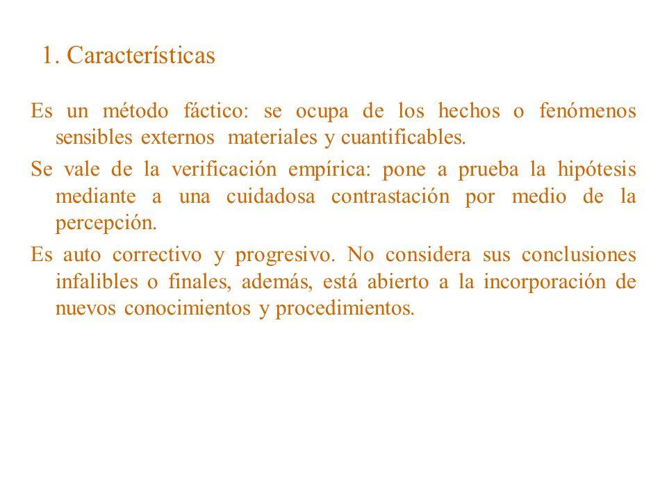 1. CaracterísticasEs un método fáctico: se ocupa de los hechos o fenómenos sensibles externos materiales y cuantificables.