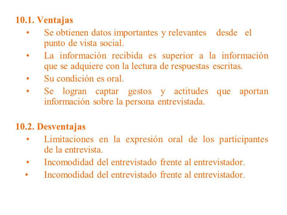 10.1. Ventajas • Se obtienen datos importantes y relevantes desde el punto de vista social.