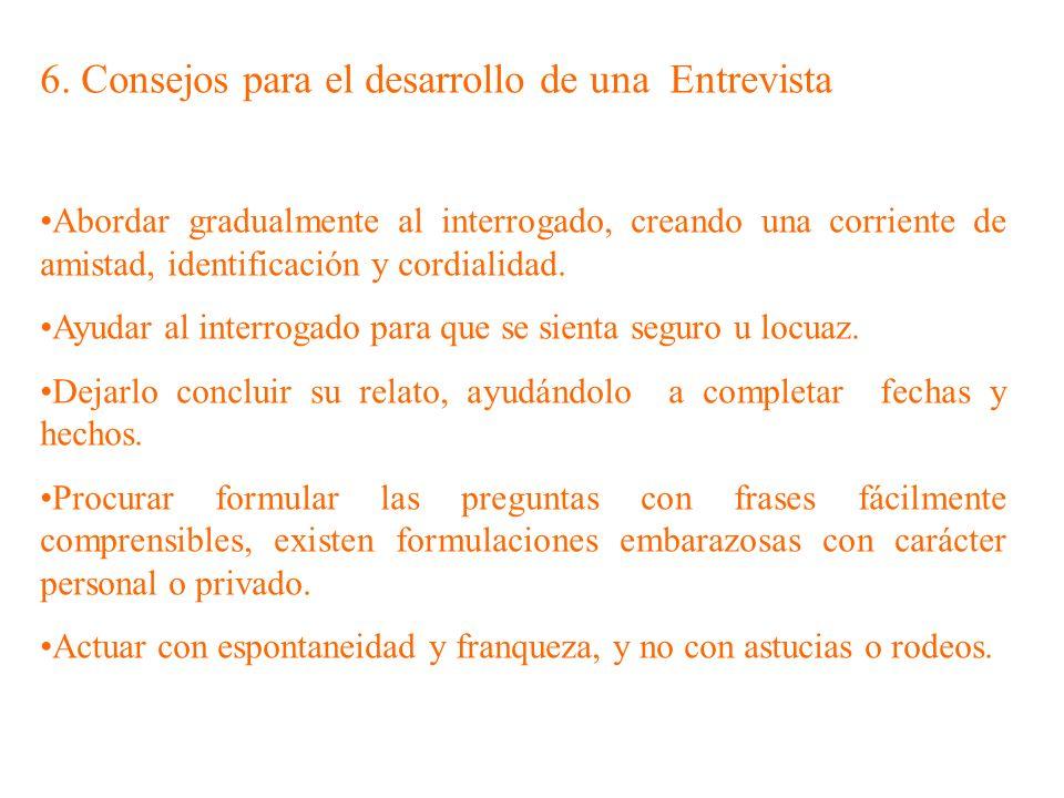 6. Consejos para el desarrollo de una Entrevista