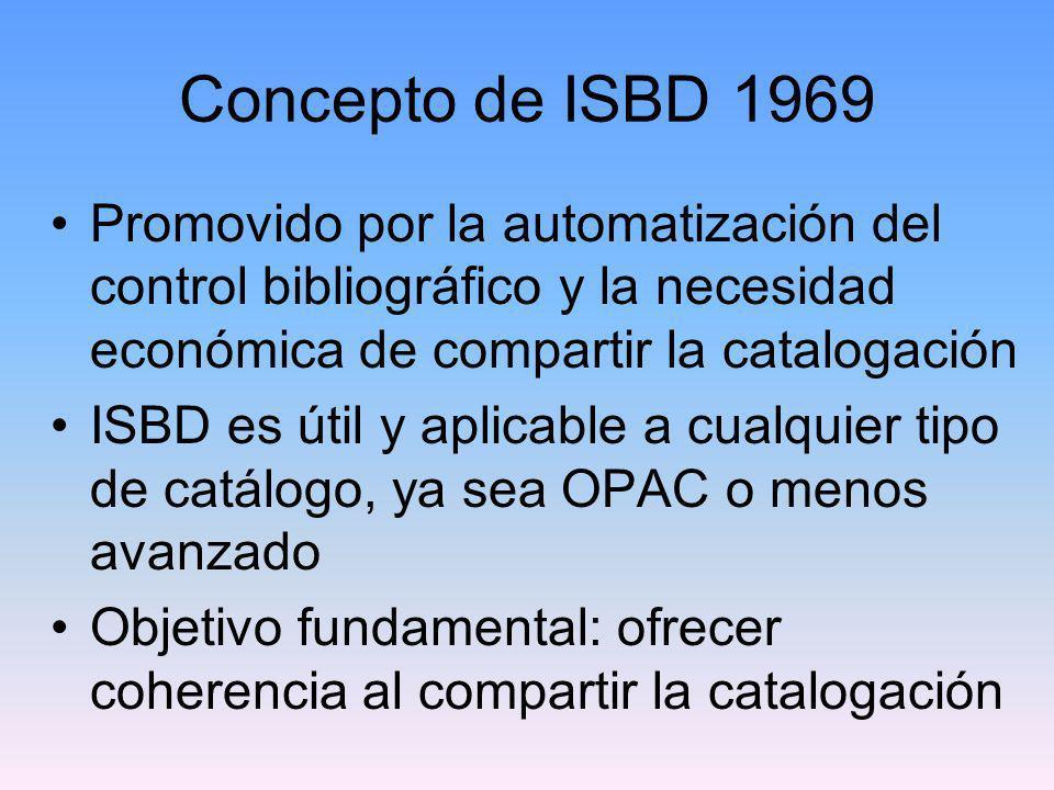 Concepto de ISBD 1969Promovido por la automatización del control bibliográfico y la necesidad económica de compartir la catalogación.