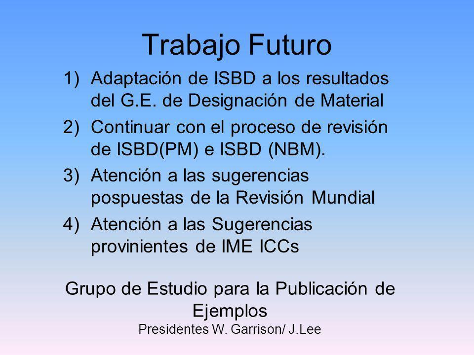 Trabajo FuturoAdaptación de ISBD a los resultados del G.E. de Designación de Material.
