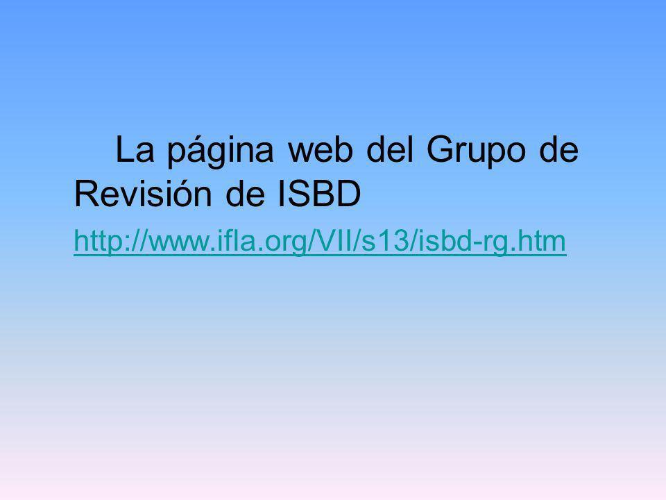 La página web del Grupo de Revisión de ISBD