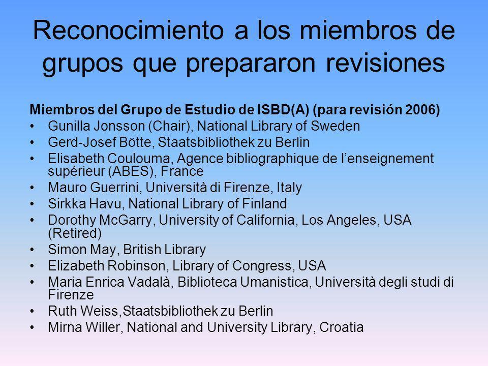 Reconocimiento a los miembros de grupos que prepararon revisiones