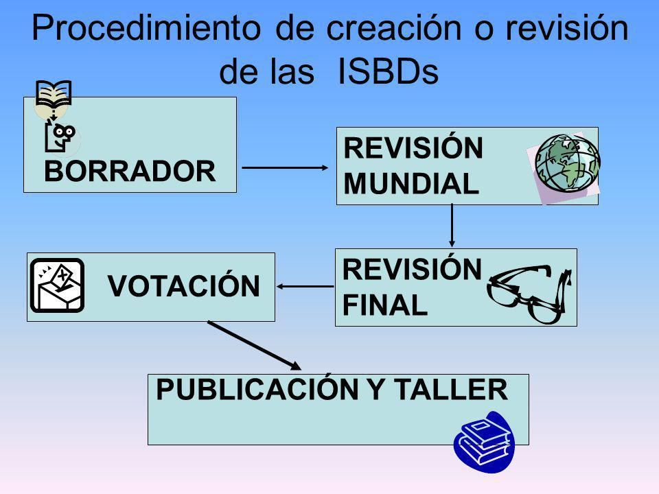 Procedimiento de creación o revisión de las ISBDs