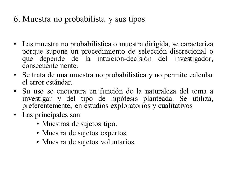 6. Muestra no probabilista y sus tipos
