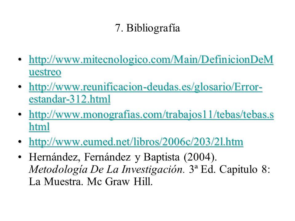 7. Bibliografía http://www.mitecnologico.com/Main/DefinicionDeMuestreo. http://www.reunificacion-deudas.es/glosario/Error-estandar-312.html.