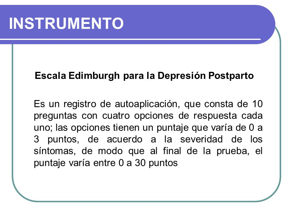 Escala Edimburgh para la Depresión Postparto