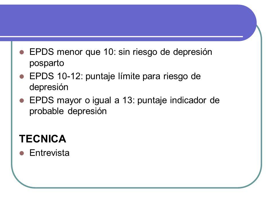TECNICA EPDS menor que 10: sin riesgo de depresión posparto