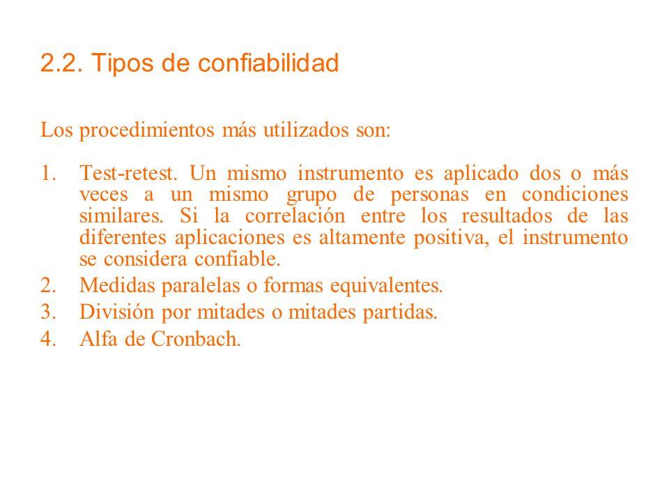 2.2. Tipos de confiabilidad