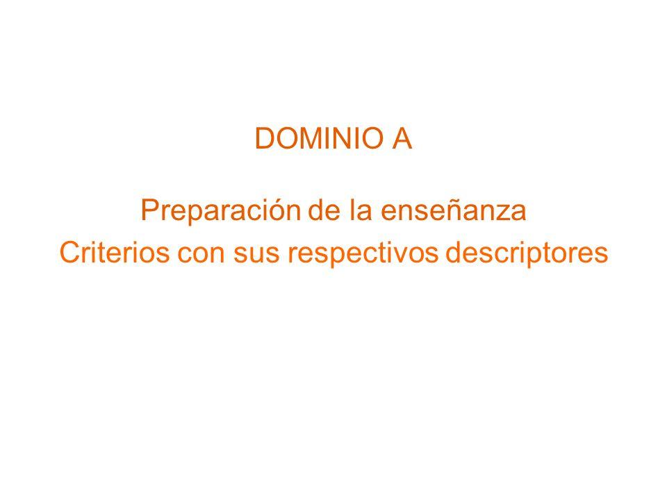 Preparación de la enseñanza Criterios con sus respectivos descriptores