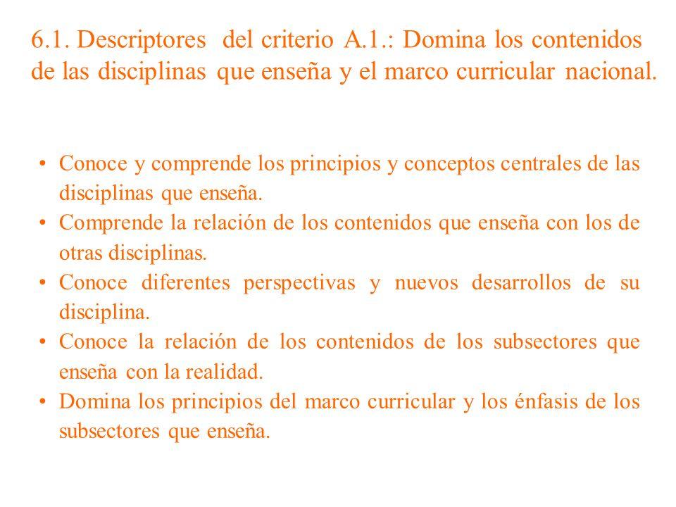 6. 1. Descriptores del criterio A. 1