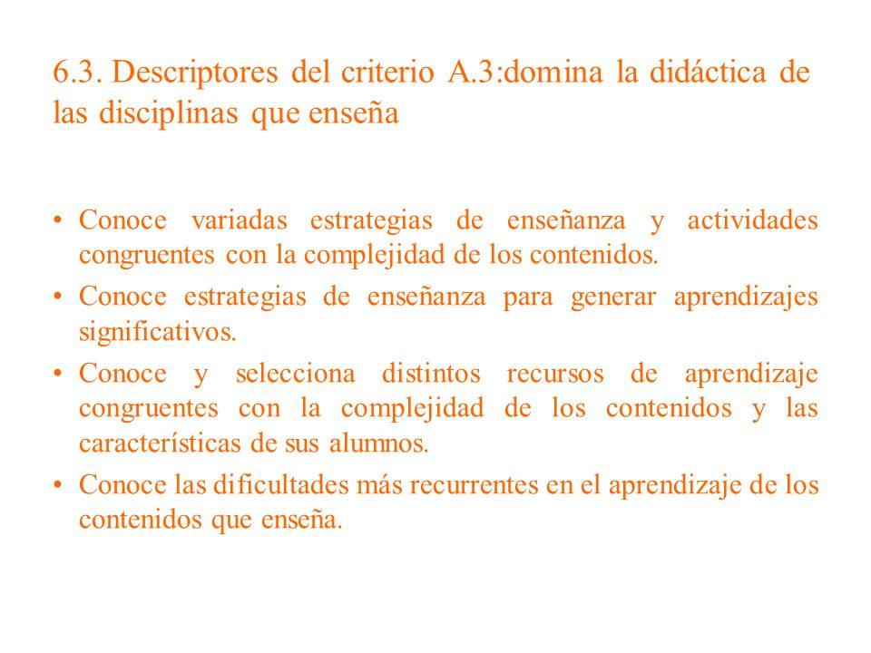 6. 3. Descriptores del criterio A