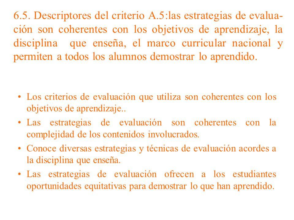 6. 5. Descriptores del criterio A