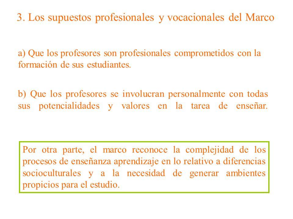 3. Los supuestos profesionales y vocacionales del Marco