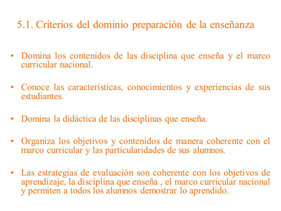 5.1. Criterios del dominio preparación de la enseñanza