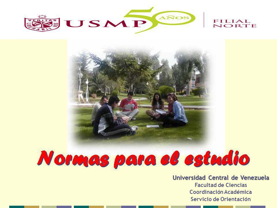Normas para el estudio Universidad Central de Venezuela