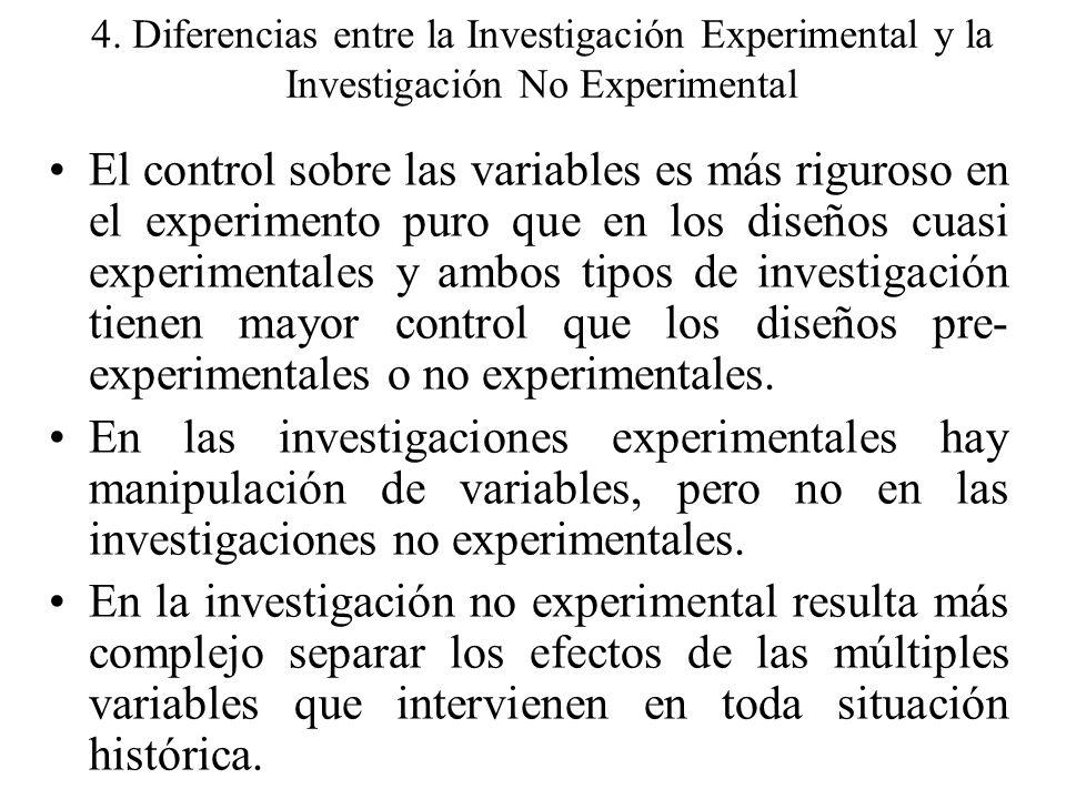 4. Diferencias entre la Investigación Experimental y la Investigación No Experimental