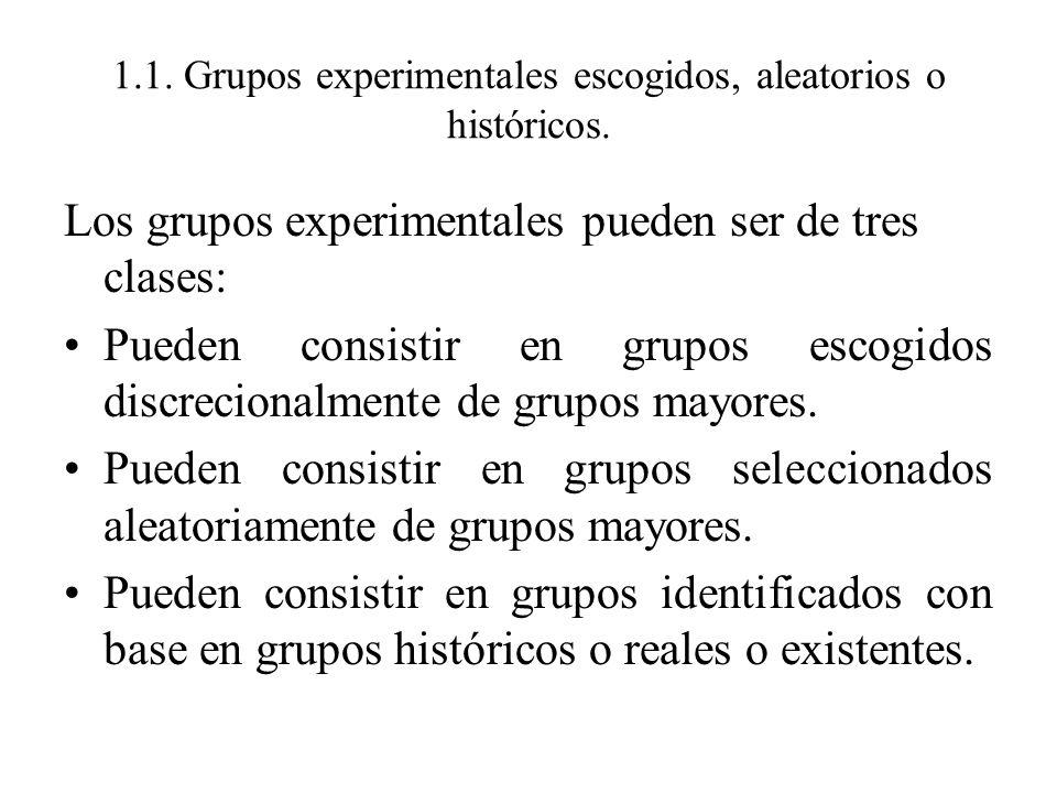 1.1. Grupos experimentales escogidos, aleatorios o históricos.