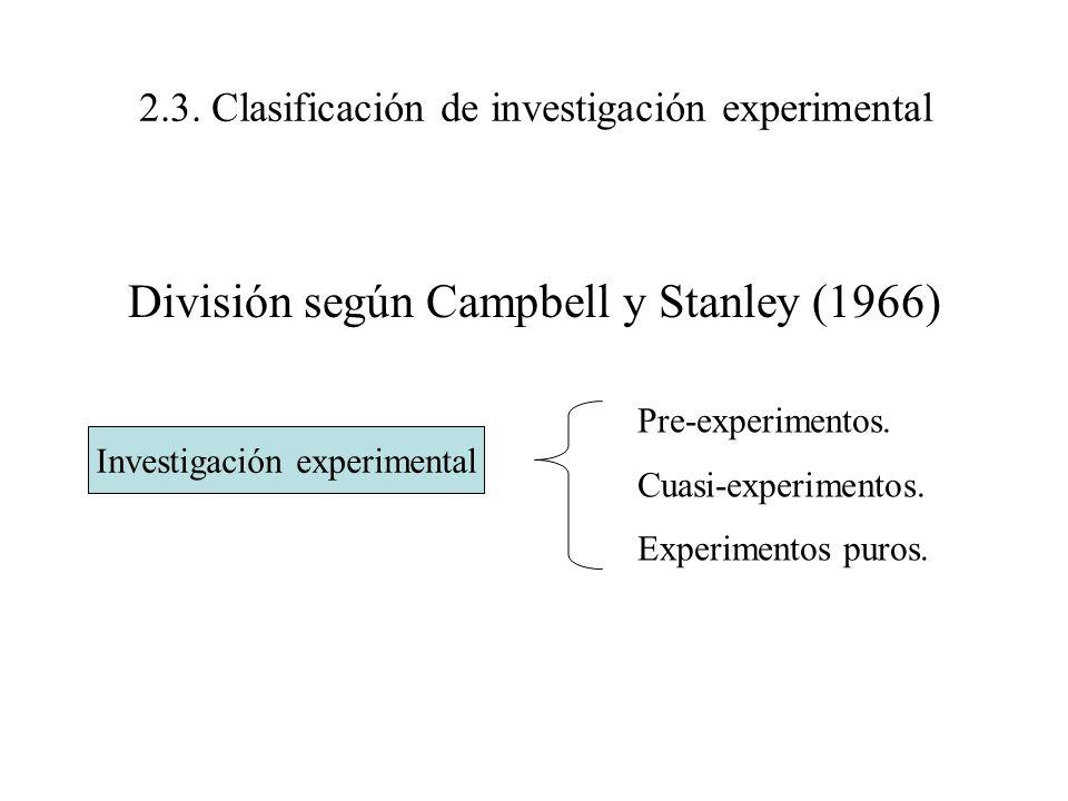 2.3. Clasificación de investigación experimental