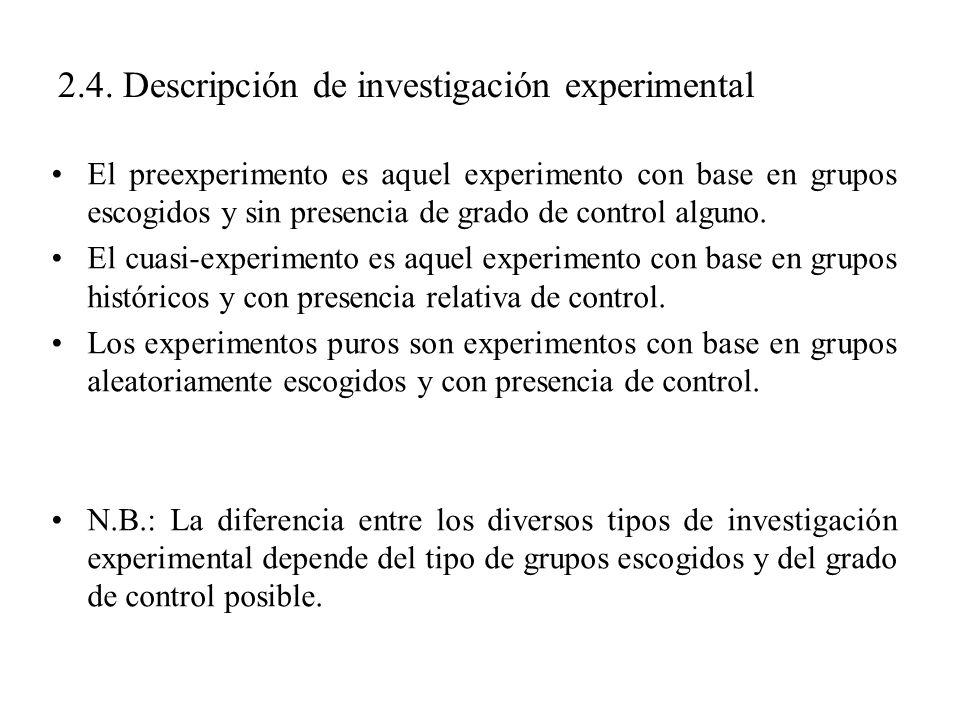 2.4. Descripción de investigación experimental