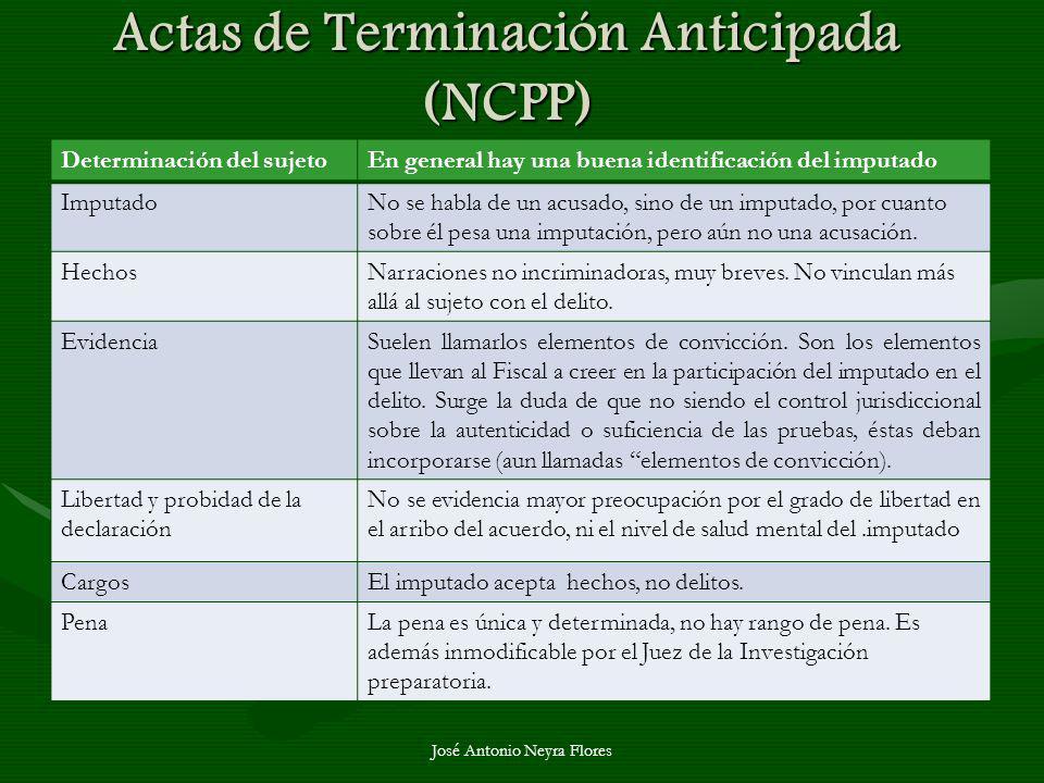 Actas de Terminación Anticipada (NCPP)