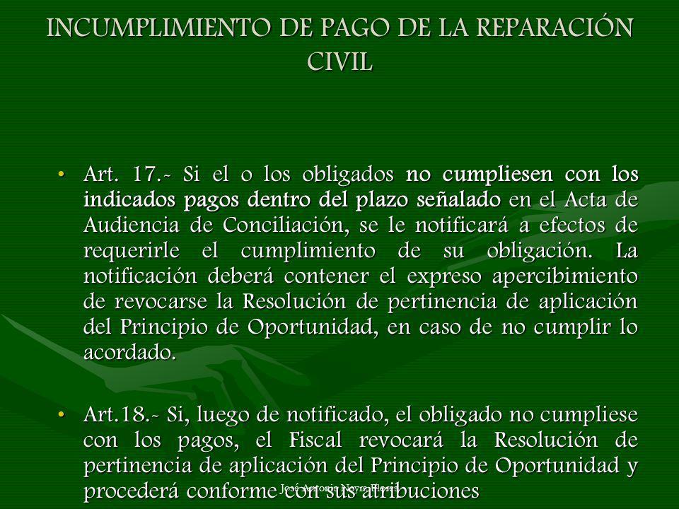 INCUMPLIMIENTO DE PAGO DE LA REPARACIÓN CIVIL
