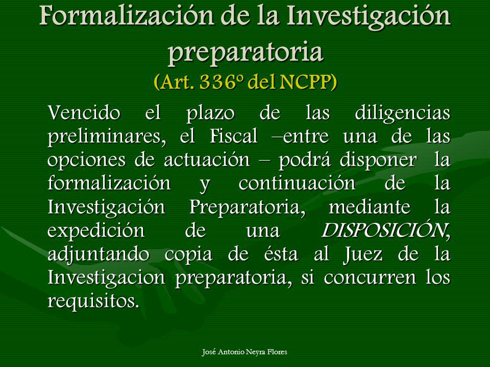 Formalización de la Investigación preparatoria (Art. 336º del NCPP)
