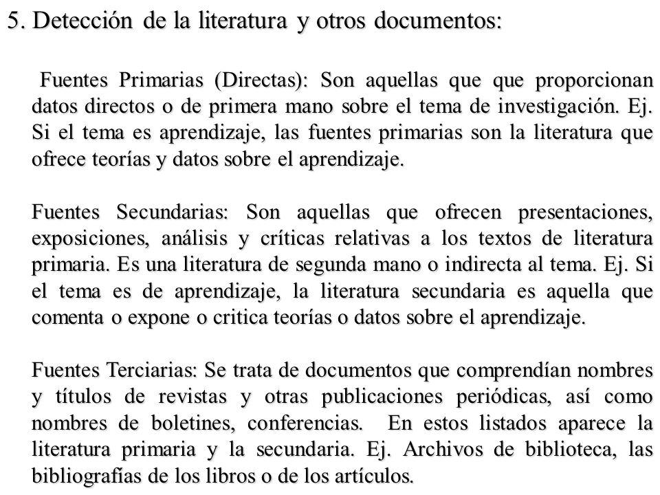 5. Detección de la literatura y otros documentos: