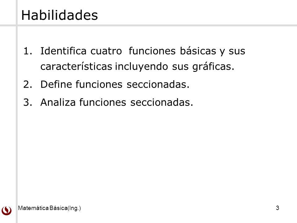 Habilidades Identifica cuatro funciones básicas y sus características incluyendo sus gráficas. Define funciones seccionadas.