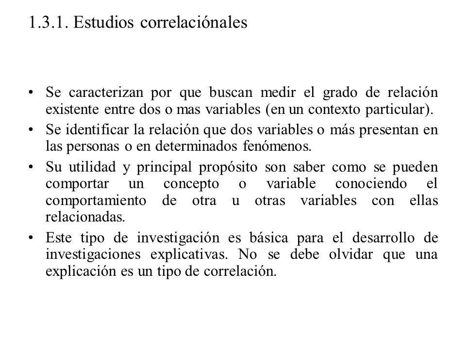 1.3.1. Estudios correlaciónales