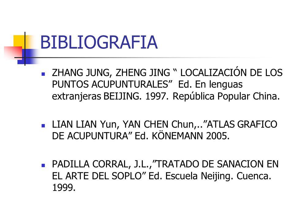 BIBLIOGRAFIA ZHANG JUNG, ZHENG JING LOCALIZACIÓN DE LOS PUNTOS ACUPUNTURALES Ed. En lenguas extranjeras BEIJING. 1997. República Popular China.