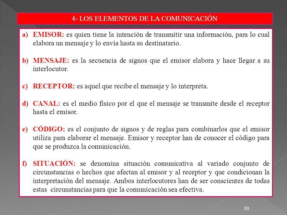 4- LOS ELEMENTOS DE LA COMUNICACIÓN