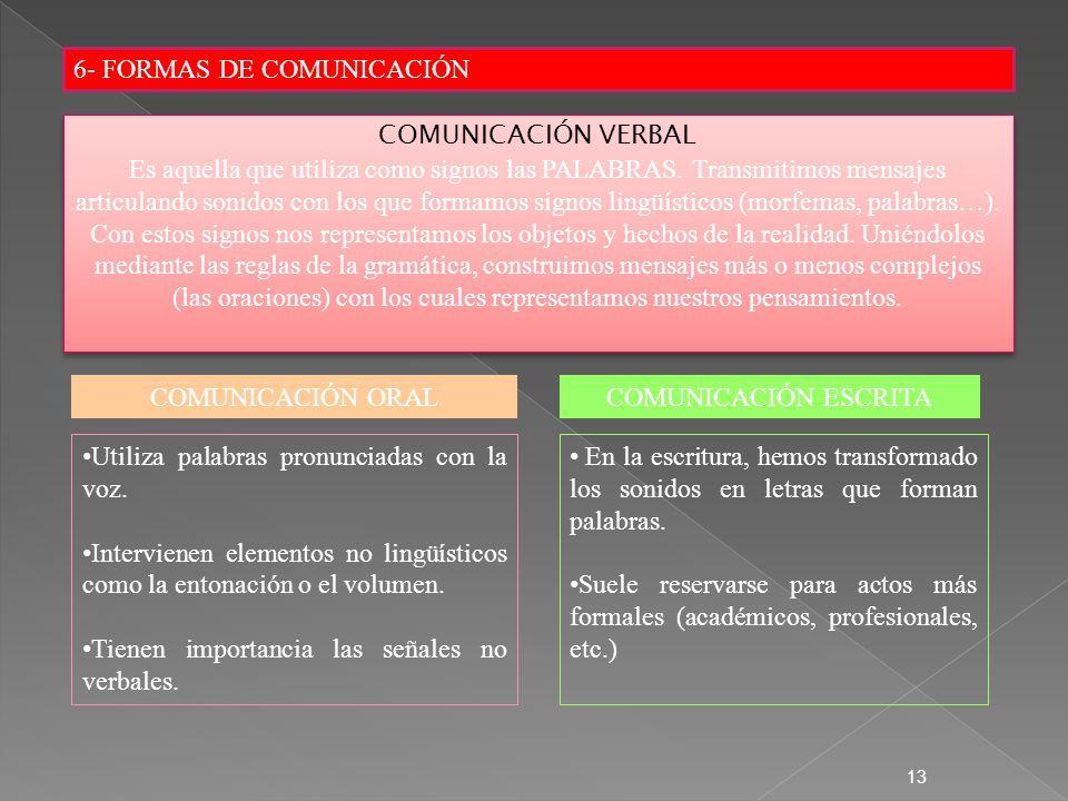 6- FORMAS DE COMUNICACIÓN