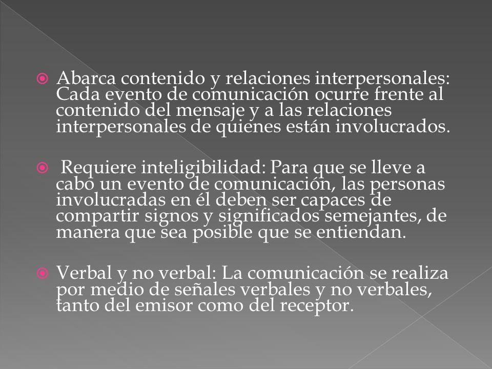 Abarca contenido y relaciones interpersonales: Cada evento de comunicación ocurre frente al contenido del mensaje y a las relaciones interpersonales de quienes están involucrados.