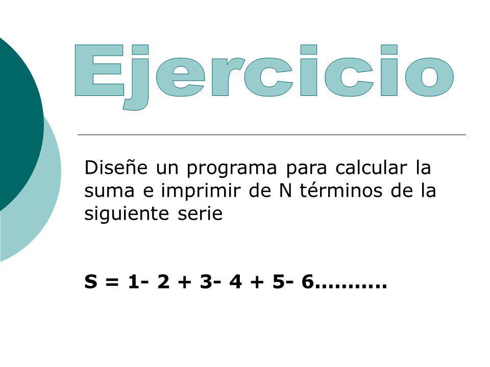 Ejercicio Diseñe un programa para calcular la suma e imprimir de N términos de la siguiente serie.