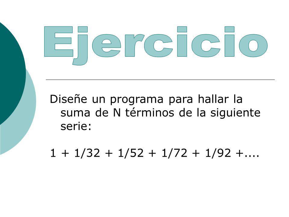Ejercicio Diseñe un programa para hallar la suma de N términos de la siguiente serie: 1 + 1/32 + 1/52 + 1/72 + 1/92 +....