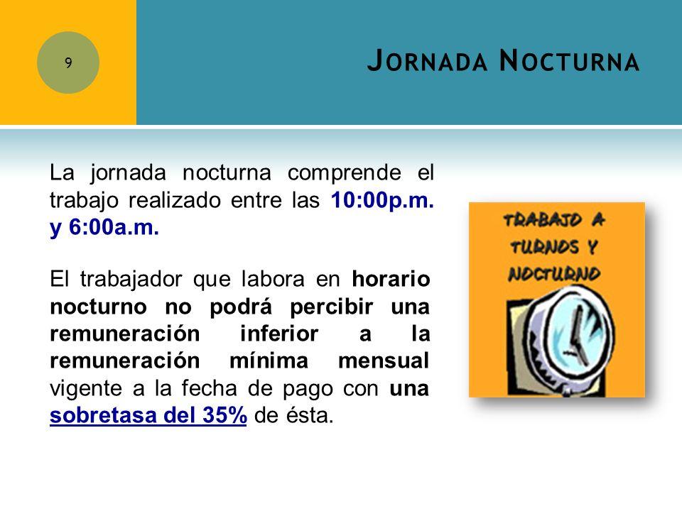 Jornada Nocturna La jornada nocturna comprende el trabajo realizado entre las 10:00p.m. y 6:00a.m.
