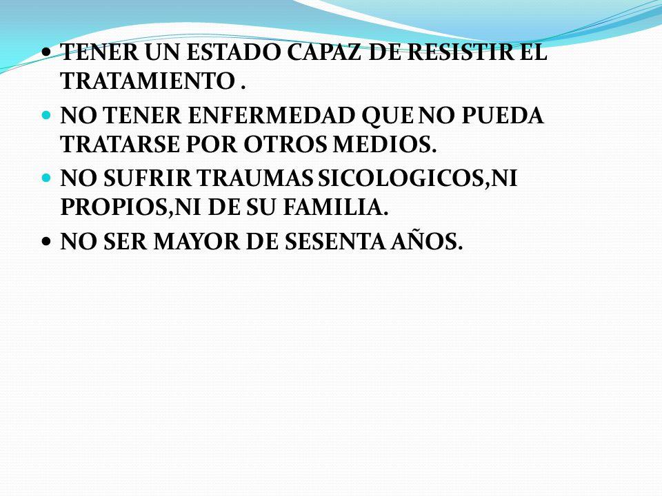 TENER UN ESTADO CAPAZ DE RESISTIR EL TRATAMIENTO .