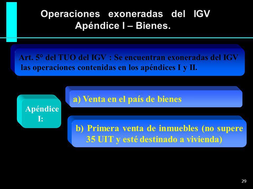 Operaciones exoneradas del IGV Apéndice I – Bienes.