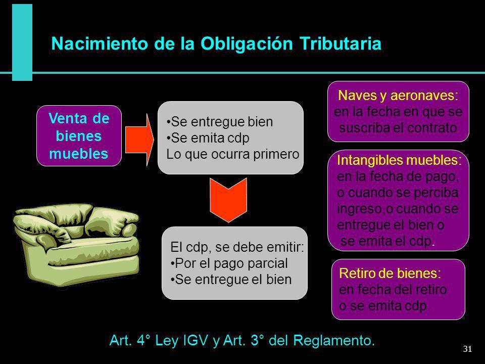 Art. 4° Ley IGV y Art. 3° del Reglamento.