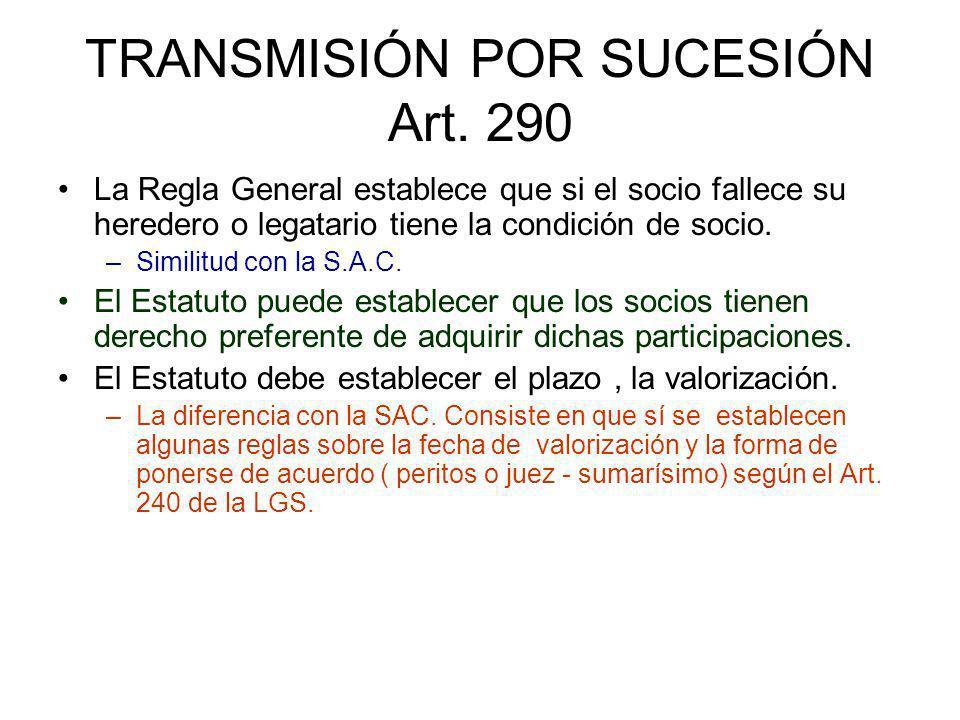 TRANSMISIÓN POR SUCESIÓN Art. 290