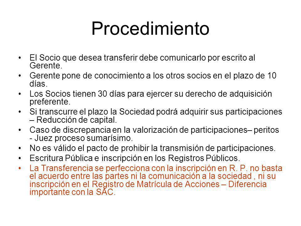 Procedimiento El Socio que desea transferir debe comunicarlo por escrito al Gerente.