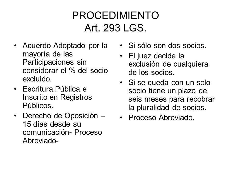 PROCEDIMIENTO Art. 293 LGS. Acuerdo Adoptado por la mayoría de las Participaciones sin considerar el % del socio excluido.